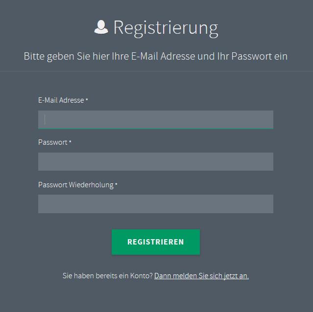 Maske Registrierung für das E-Paper