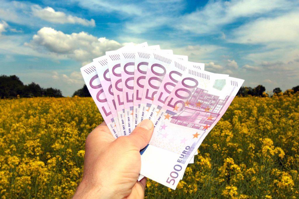 Investoren in der Landwirtschaft mit Geld auf dem Acker