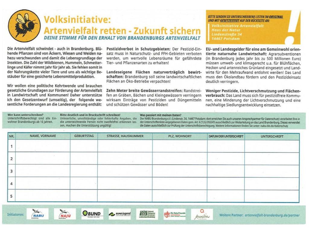 """Unterschriftenliste der Volksinitiative """"Artenvielfalt retten"""""""