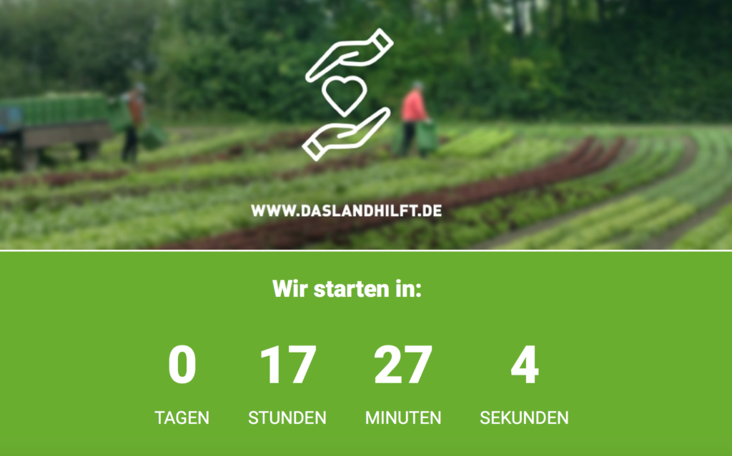 Screenshot der online Jobvermittlung für Erntehelfer auf www.das-land.hilft.de
