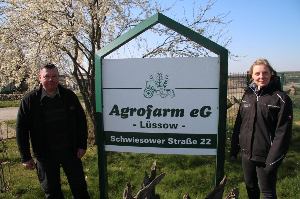 Führungsteam: Lars-Peter Loeck und Wencke Ladwig führen die Agrarfarm eG Lüssow als Vorstand. (c) Gerd Rinas