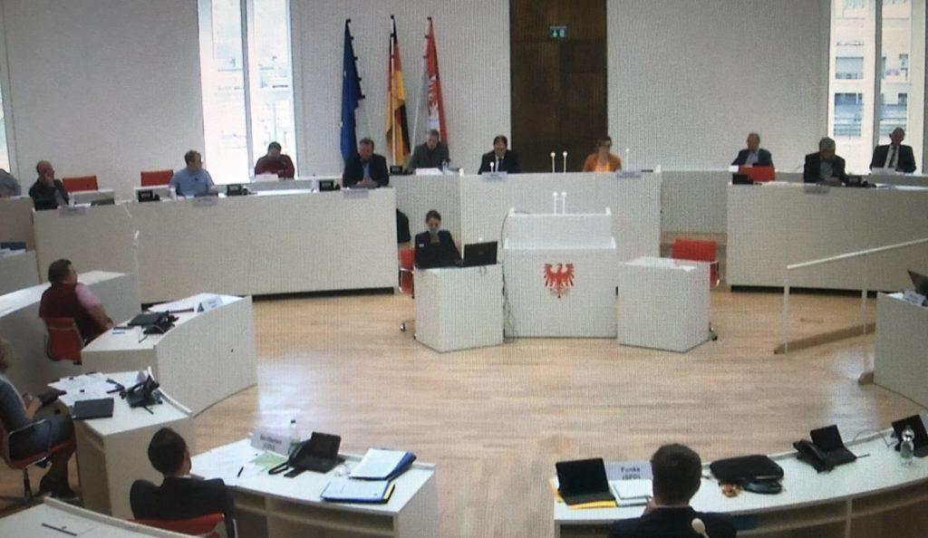Der Agrarausschuss tagte im Plenarsaal des Potsdamer Landtag. Das Fachgespräch wurde im Livestream übertragen. (C) Screenshot/Stephan