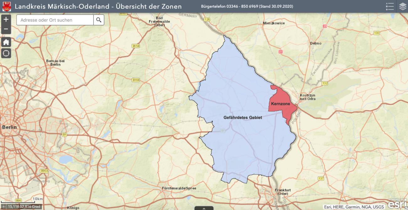 Übersicht der ASP-Restriktionszonen im Landkreis Märkisch-Oderland in Brandenburg